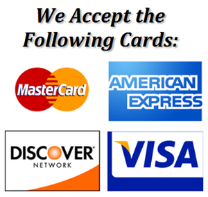 We accept most major credit cards.